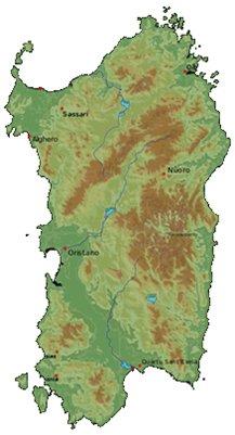 Sardinian ja Algheron kartta