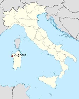 kartta Alghero - Sardinia - Italia sijainti