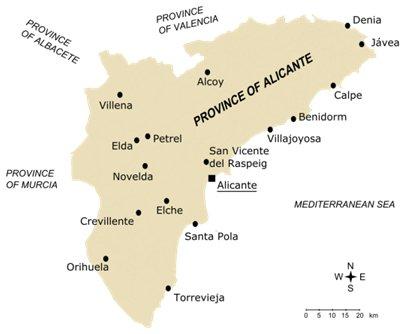 Espanja Alicante Costa Blanca Torrevieja sijainti kartta