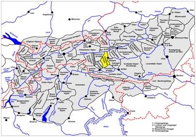 kartta kuva Keski-Alpit Bad Gastein Itävalta matka
