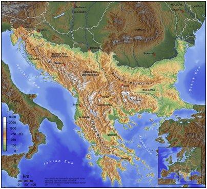 Balkanin niemimaahan kuuluvat valtiot kartta kuva