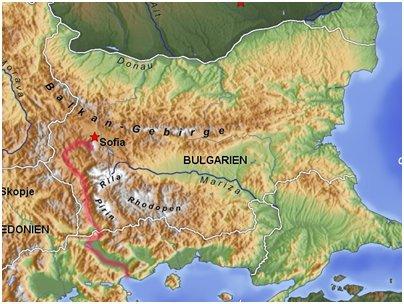 Bulgarian vuoria ja jokia kartta