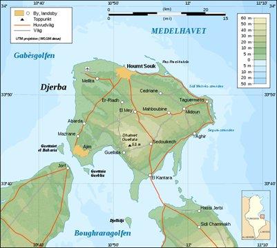 Djerban saari kartta