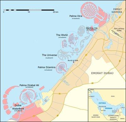 Dubain emiraatin rannikon rakenteilla olevat tekosaaret