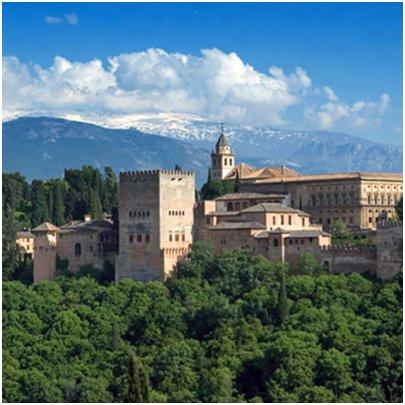 Espanja Andalusia Costa del Sol Malaga Torremolinos Granada Alhambran palatsi