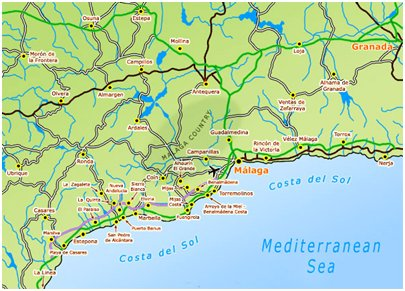 kartta Espanja Costa del Sol - Aurinkorannikko - Torremolinos - Malaga