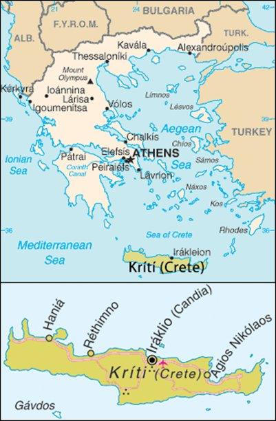 kartta Hania Kreeta Kreikka sijainti