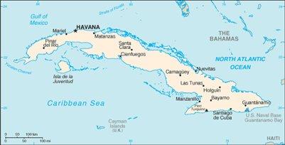 kartta Havanna Kuuban saari matka