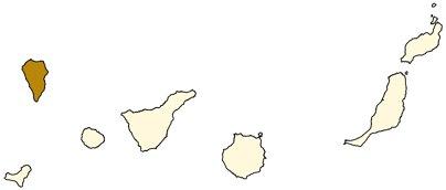 Espanja Kanariansaaret La Palman saari sijainti kartta