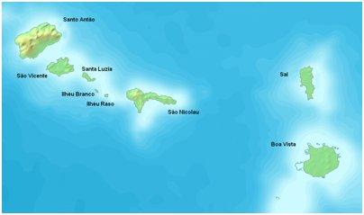 Kap Verde Barlaventon saariryhmä kartta