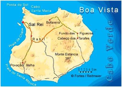 Kap Verde Boa Vista saari sijainti kartta