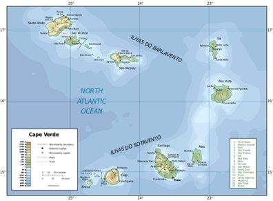 Kap Verden saaret sijainti kartta