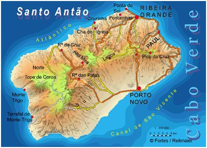 Kap Verde lomat Santo Antão saari sijainti kartta