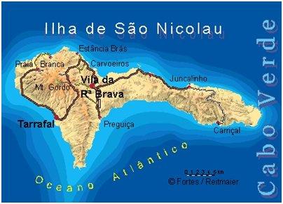 Kap Verde São Nicolau saari sijainti kartta
