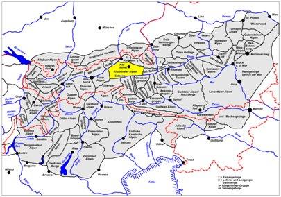 kartta kuva Keski-Alpit Kitzbüheler-Alppialue  Itävalta Saalbach-Hinterglemm matka