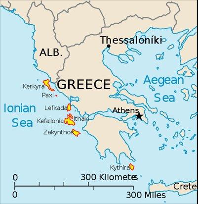 kartta Zakynthos Kreikka sijainti