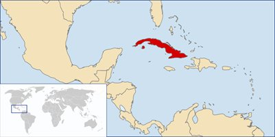 kartta Kuuba sijainti loma matka
