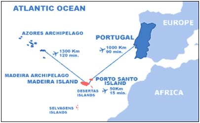 Madeira sijainti - Madeira saariryhmä Atlantin valtameressä