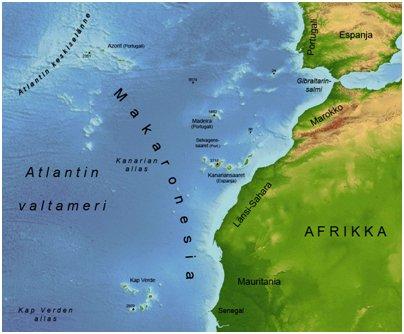 Makaronesian saaret Kap Verde saari sijainti kartta