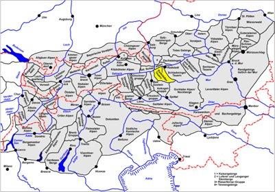kartta Radstädter Tauernin vuorijonoalue Alpit Obertauern Itävalta