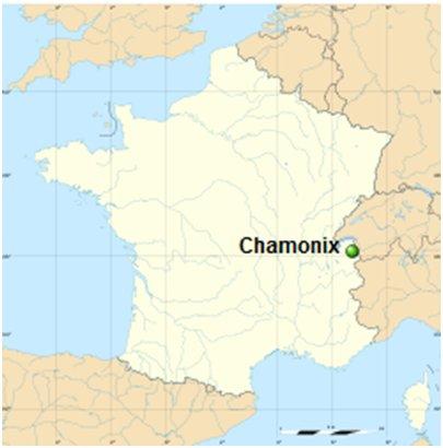 Ranska Chamonix sijainti kartta