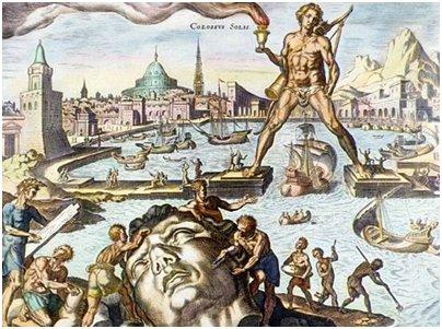 Kreikan Rodoksen kolossia esittävä maalaus