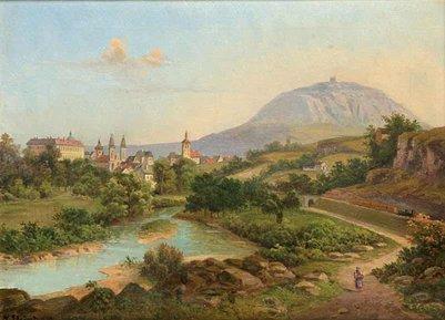 Roudnice-kaupunki ja Ríp-vuori. Roudnice on yksi Tšekin vanhimmista kaupungeista