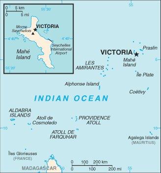 kartta Seychellien saaret Intian valtameress� Seychellit