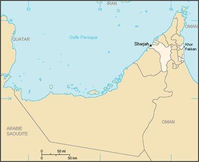Sharjah sijainti kartta Yhdistyneet Arabiemiirikunnat