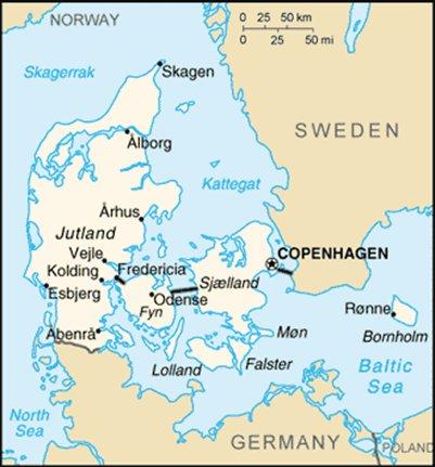 kartta Kööpenhamina Tanska sijainti