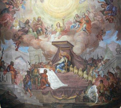 taulu Kuningas Salomon tutustuu temppelinsä rakennussuunnitelmaan