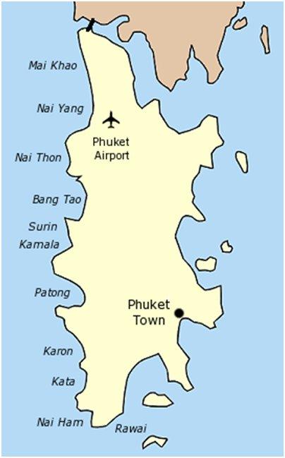 Phuketin hiekkarannat kartta kuva Phuket Thaimaa uimarannat loma matka