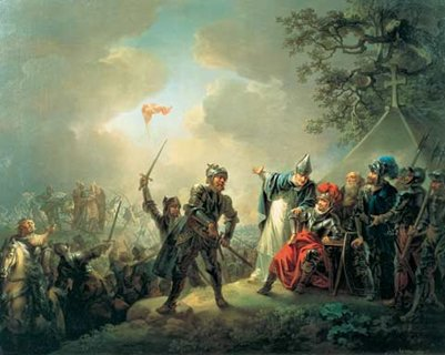 Tanskan lippu laskeutuu taivaasta vuonna 1219 taide maalaus