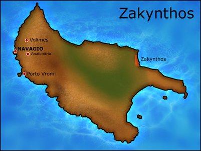 kartta Zakynthos Kreikka